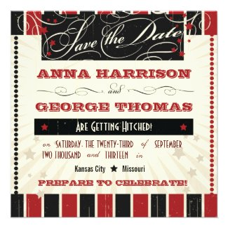 Rustic Poster: Red & Black Save the Date Personalized Announcement