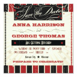 """Rustic Poster: Red & Black Save the Date 5.25"""" Square Invitation Card"""