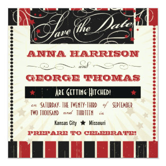 Rustic Poster: Red & Black Save the Date 5.25x5.25 Square Paper Invitation Card