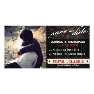 Rustic Poster: Red & Black Save the Date Customized Photo Card