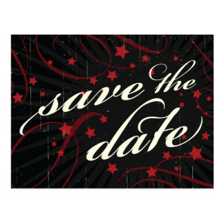 Rustic Poster: Red & Black Save the Date Postcard