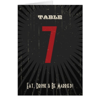Rustic Poster: Red & Black Table Number Greeting Card