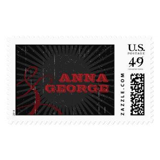 Rustic Poster: Red & Black Vintage Wedding Stamp