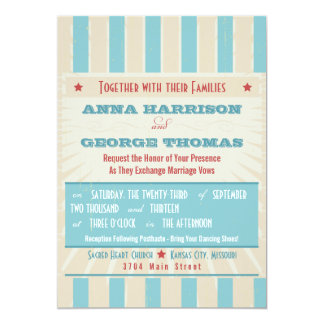 Rustic Poster: Red, White & Blue Custom Wedding 5x7 Paper Invitation Card