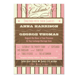 Rustic Poster: Strawberry Mousse Custom Wedding 5x7 Paper Invitation Card