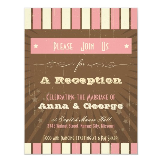 Rustic Poster: Strawberry Mousse Reception Only Card