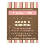 "Rustic Poster: Strawberry Mousse Rehearsal Dinner 4.25"" X 5.5"" Invitation Card"