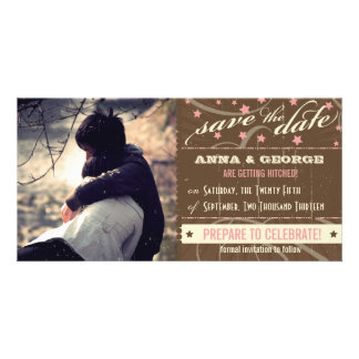 Rustic Poster: Strawberry Mousse Save the Date Customized Photo Card