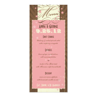 Rustic Poster: Strawberry Mousse Wedding Menu 4x9.25 Paper Invitation Card