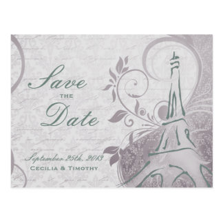 Rustic Poster: Subtle Teal & Purple Save the Date Postcards
