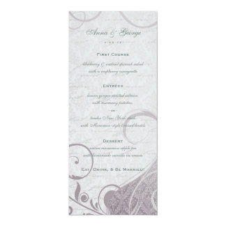 Rustic Poster: Subtle Teal Purple Wedding Menu 4x9.25 Paper Invitation Card