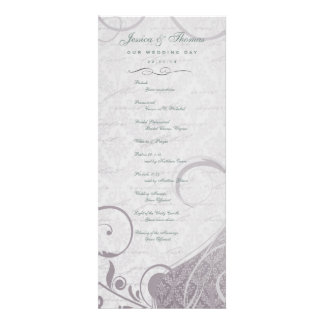 Rustic Poster: Subtle Teal Purple Wedding Program Invitations