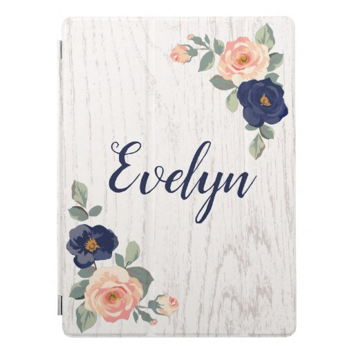 Rustic Pretty Navy Blue, Peach Floral Personalized iPad Pro Cover