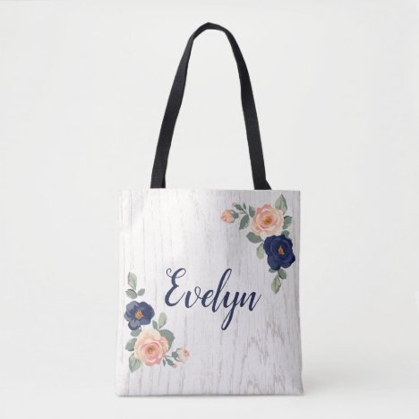 Rustic Pretty Navy Blue, Peach Floral Personalized Tote Bag