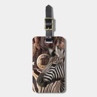 rustic Primitive Africa safari animal  zebra Bag Tag