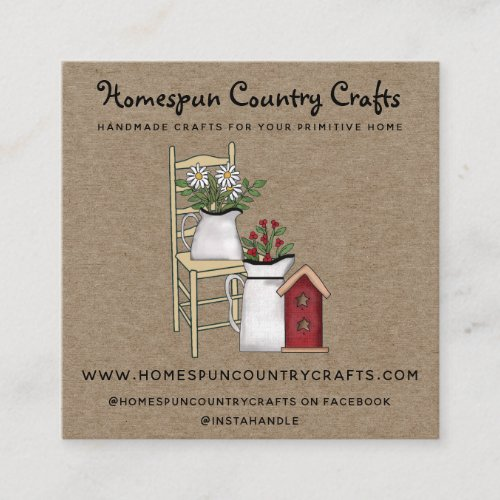 Rustic Primitive Country Kraft  Square Business Card