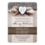 "Rustic Printed Burlap Heart Initial Wedding Invite 4.5"" X 6.25"" Invitation Card"