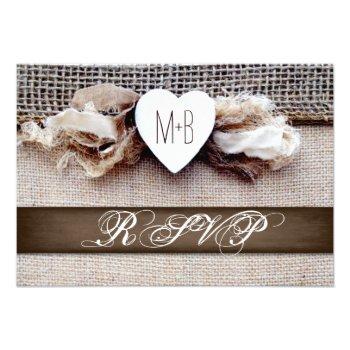Rustic Printed Burlap Heart Initials Wedding RSVP