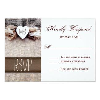 Rustic Printed Burlap Heart Initials Wedding RSVP Card