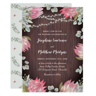 Rustic Protea Eucalyptus Lights Wood Wedding Invitation