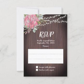 Rustic Protea Eucalyptus Lights Wood Wedding RSVP Card