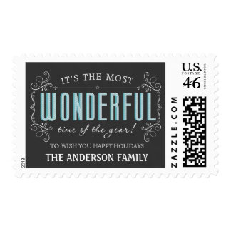 Rustic Pub Sign Chalkboard Christmas Holiday Stamp