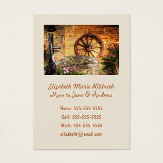 Rustic Pump, Well and Cartwheel scene Business Card