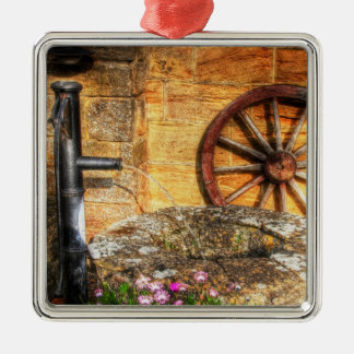 Rustic Pump, Well and Cartwheel scene Square Metal Christmas Ornament