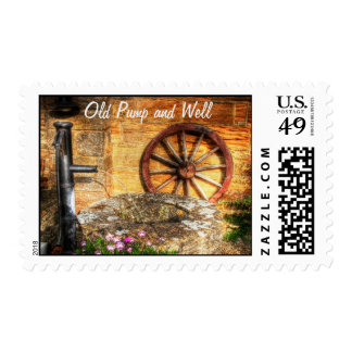 Rustic Pump, Well and Cartwheel scene Postage Stamp