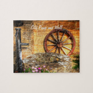 Rustic Pump, Well and Cartwheel scene Puzzle