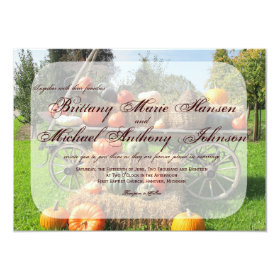 Rustic Pumpkin and Hay Country Wedding Invitations 4.5