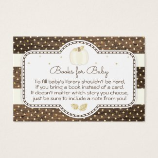 Rustic Pumpkin Baby Shower Bring a Book Gold Ivory