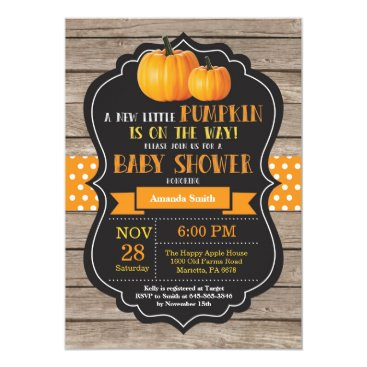 Halloween Themed Rustic Pumpkin Baby Shower Invitation Card Wood
