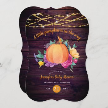 Rustic Pumpkin BABY SHOWER Watercolor FALL Modern Invitation
