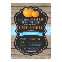 Rustic Pumpkin Boy Baby Shower Invitation Card