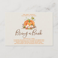 Rustic Pumpkin Bring a book Fall Autumn Shower Enclosure Card