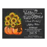 Rustic Pumpkin Chalkboard Wedding Invitation