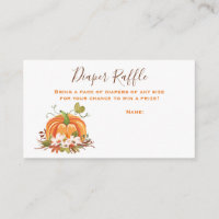Rustic Pumpkin Diaper Raffle Card Fall Autumn