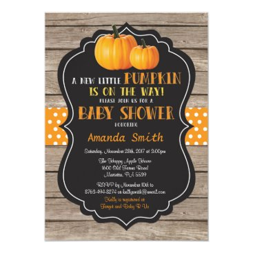 Halloween Themed Rustic Pumpkin Fall Baby Shower Invitation