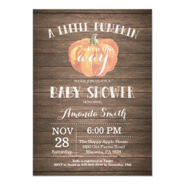 Halloween Themed Rustic Pumpkin Fall Baby Shower Invitation Card