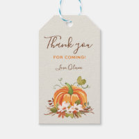 Rustic Pumpkin Favor Tag Autumn Fall Leaves Floral