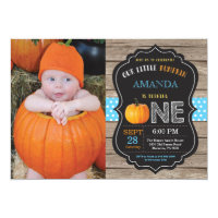 Rustic Pumpkin First Birthday Invitation Blue
