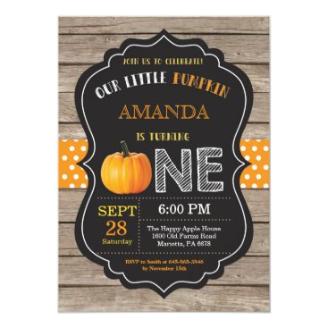 Halloween Themed Rustic Pumpkin First Birthday Invitation Orange