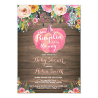 Rustic Pumpkin Floral Girl Baby Shower Invitation