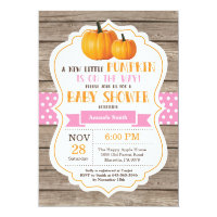 Rustic Pumpkin Girl Baby Shower Invitation Card