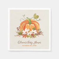 Rustic Pumpkin Paper Napkin Fall Baby shower