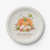 Rustic Pumpkin Paper Plate Baby Shower Autumn Fall