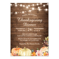 Rustic Pumpkin String Lights Thanksgiving Dinner Invitation