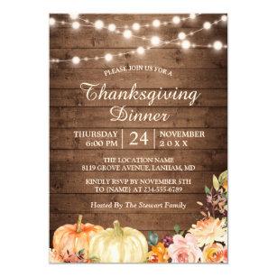Rustic Pumpkin String Lights Thanksgiving Dinner Invitation
