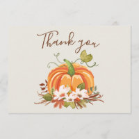 Rustic Pumpkin Thank you Card Floral Autumn Brown